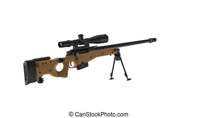 Rifle sniper gun black steel beige, alpha channel. 3D...