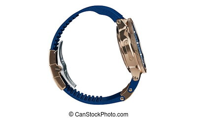 Wrist watch blue and gold, alpha channel. 3D animation loop