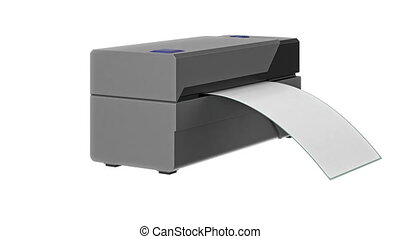 Barcode printer gray office technology, alpha channel. 3D...