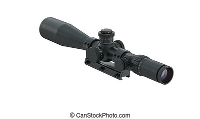 Scope optical black rifle equipment, alpha channel. 3D...
