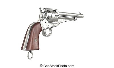 Gun cowboy chrome revolver with wood handle, alpha channel....