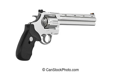 Revolver firearm gun chrome cowboy western, alpha channel....