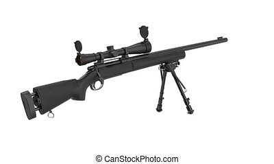 Rifle sniper with optical scope weapon gun black steel,...