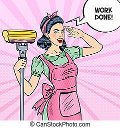 Pop Art Young Confident Housewife Woman Cleaning House with...