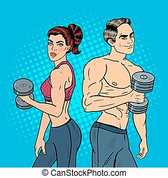 Pop Art Athletic Man and Woman Exercising with Dumbbells