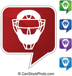 Umpire Mask - Umpire mask web button isolated on a...