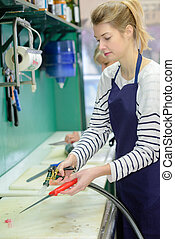 friendly girl working at fishery