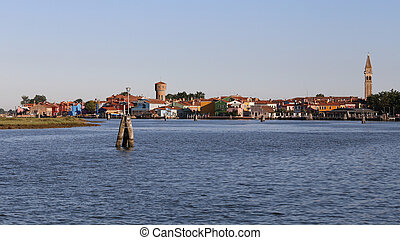 Adriatic Sea and the island of Burano with colorful houses...