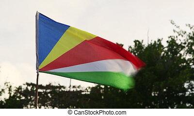 National flag of Seychelles islands