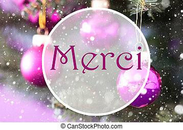 Rose Quartz Christmas Balls, Merci Means Thank You -...