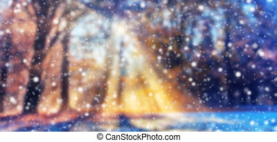 Abstract blur winter background with snow flakes - Abstract...