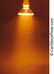 halogen lamp with reflector, warm light in a fog