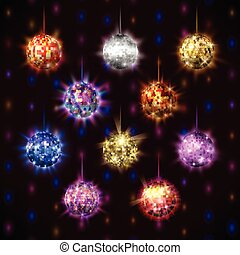 Disco balls vector set.
