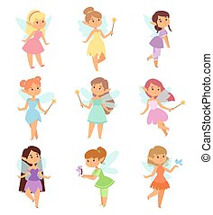 Fairies cartoon characters vector set.
