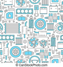 Auto spare parts seamless pattern. Car repair icons texture...