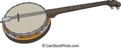 Four string banjo - Hand drawing of an old four string banjo