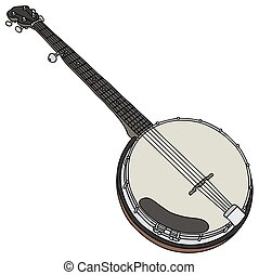 Classic five string banjo - Hand drawing of a classic five...