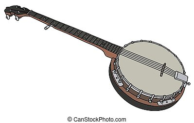 Old five string banjo - Hand drawing of an old red five...