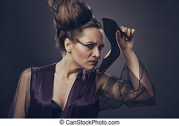 Stinky High Heel Shoe - Fancy woman in sexy low-cut satin...