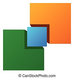 Generic symbol with overlapping squares. Conceptual icon for...