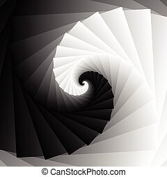 Rotating spiral grayscale geometric background - Abstract...