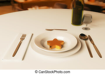 Restaurant rating concept - Dining table with wine, abstract...