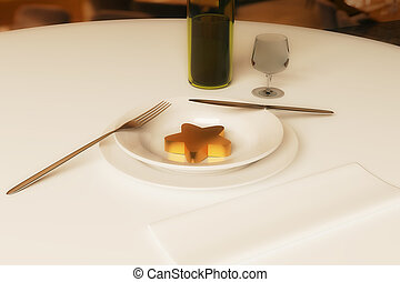 Restaurant rating concept - Creative dining table with wine,...