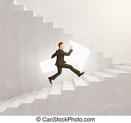 Man with arrow on stairs - Side view of businessman with...