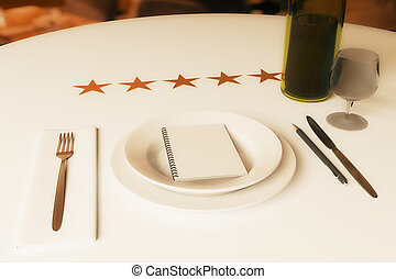 Restaurant rating concept. Dining table with wine, cutlery,...