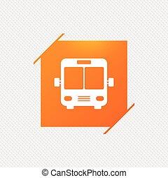 Bus sign icon. Public transport symbol. Orange square label...