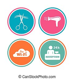 Hotel services icon. Wi-fi, Hairdryer. - Hotel services...