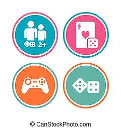 Gamer icons. Board games players. - Gamer icons. Board games...