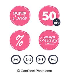 Special offer icons. Take two pay for one sign. - Super sale...