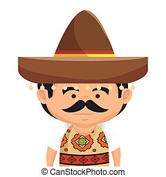 mexican man character icon vector illustration design
