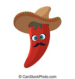 chili pepper character vegetable icon