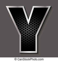 Metal grid font - letter Y