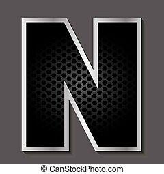Metal grid font - letter N