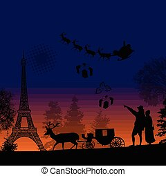 People at night in Paris with santa claus and deers