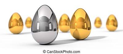 3d illustration of easter eggs.