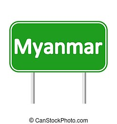 Myanmar road sign. - Myanmar road sign isolated on white...