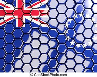 Flag of cook islands, hexagon mosaic background. 3D...