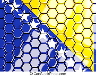 Flag of bosnia and herzegovina, hexagon mosaic background....
