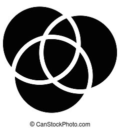 Overlapping circles icon - Contour of 3 overlapping,...