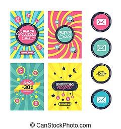 Mail envelope icons. Message symbols. - Sale website banner...