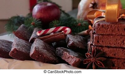 Christmas Sweets - Spiced biscuits, candy cane and winter...