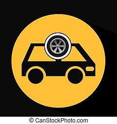 cartoon van car wheel icon design vector illustration eps 10