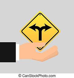 garfo, sinal, estrada, Seta, ícone