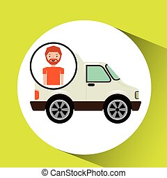 cartoon man delivery truck icon graphic