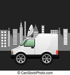 mini truck citi background design