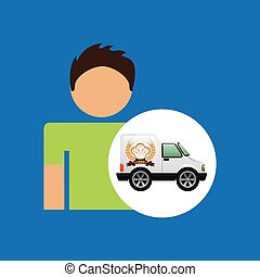bakery van and character man icon vector illustration eps 10